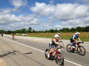Triathletes rocking the bike leg at Ironman 70.3 Raleigh.