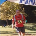 Crossing the finish line at the 2011 Triple Lakes Trail Marathon, Greensboro, NC.